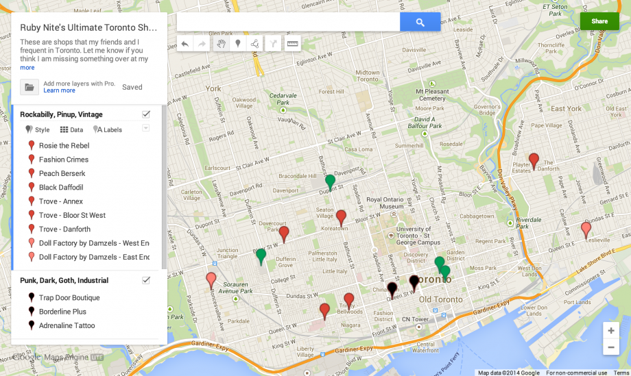 Ruby Nite's Toronto Shopping Map